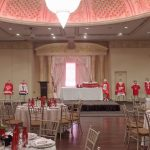 A photo of a banquet hall with tables