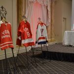 A display of different kinds of York University jerseys