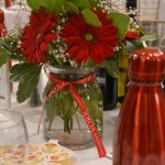 A photo of a bottle with a pair of red flowers and a red bottle